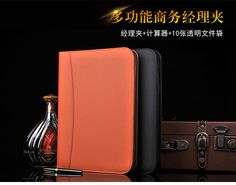 A4 leather folder portfoilo with zipper, with calculator