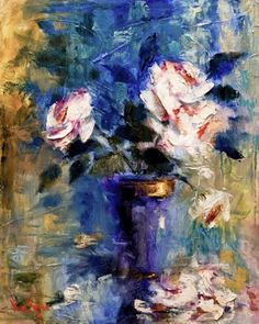 "ART & SPIRIT by Artist, NORA KASTEN: ""White Roses On Blue"" Oil Painting by Artist NORA KASTEN"