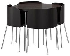IKEA FUSION DINING TABLE - Black-Brown & Chrome