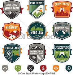 old camping art | Vector - Vintage travel and camp badges - stock illustration, royalty ...