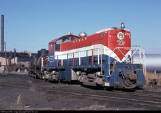 The NYS&W Bicentennial unit is still looking good in 1978, a few years after receiving the red, white, and blue paint.