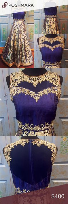 Gold royal blue silk brocade gown This is one of a kind handcrafted silk brocade gown. The top yoke portion of the gown is in raw silk with sheer neckline and zardozi hand embroidery . The back also is sheer with the same hand work done on it. The bottom of the gown is in hand woven silk brocade. There is a center back zipper. The top is padded and the bottom of the gown has cancan to make it look fuller. Dresses Maxi