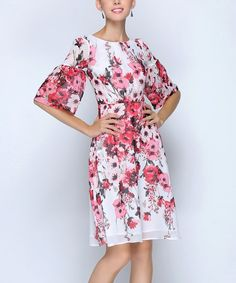 Coeur de Vague White & Red Floral Bell-Sleeve Dress | zulily