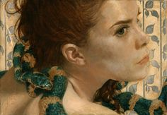 Woman Snake Portrait Signed Numbered Archival Giclee Print of Oil Painting Original Sin Rebirth' Female Eve Realistic Art COA Green & Beige by JackieGomezFineArt on Etsy Realistic Paintings, Original Paintings, Snake Painting, Painting Art, Pigment Ink, Female Portrait, Cool Artwork, Giclee Print, Art Prints