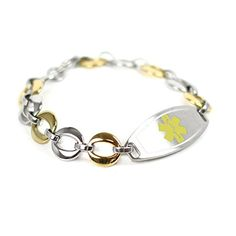 MyIDDr Custom Medical ID Bracelet with Free Engraving, Gold Tone Steel Links