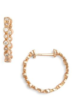 Bony Levy 'Gianna' Small Bezel Diamond Hoop Earrings (Nordstrom Exclusive)