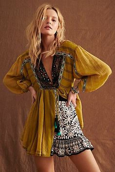 Sabeena Embroidered Tunic by Free People, Green, XS Free People Clothing, Free People Dress, Emo Dresses, Fashion Dresses, Party Dresses, Casual Dresses, Free Clothes, Clothes For Women, Embroidered Tunic