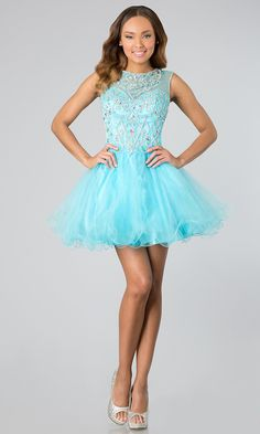 Short Mesh Baby Blue Homecoming Dress Illusion Neckline Poofy Skirt