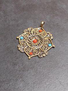Tibetan Brass Coral Turquoise Beaded Pendant