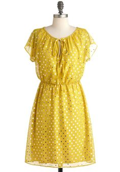 Ready to Sunburst Dress - Yellow, Silver, Party, A-line, Cap Sleeves, Spring, Mid-length, Polka Dots