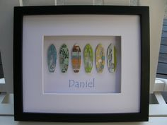 Funky Retro Surfboards Framed Personalised Paper Art Gift For Baby Nursery and…