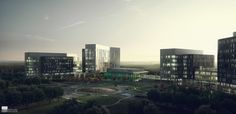 Ongoing development of the Cerner Innovations Campus near Kansas City (US). The design is by Gould Evans.