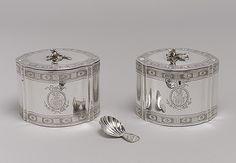 Pair of tea caddies, 1790–91  John Scofield (English, active 1776–96)  Silver