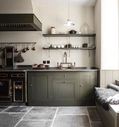 green kitchen by plain English Green and brass kitchen Interior journalist Kate Watson-Smyth looks at rooms with stand-out features and design ideas as part of her Monday Inspiration: Beautiful Rooms feature Green Kitchen, New Kitchen, Kitchen Dining, Olive Kitchen, Minimal Kitchen, Brass Kitchen, Kitchen Cabinetry, Kitchen Hacks, Country Kitchen