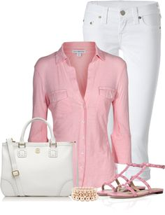 """""""Pink and White"""" by denise-schmeltzer on Polyvore"""