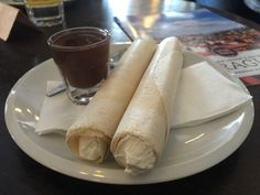 Horice rolled wafers filled with cream dipped in chocolate at Choco Cafe on PieLadyLife,com Prague Tours, Prague Travel, Danube River Cruise, Rolls, Chocolate, Cream, Ethnic Recipes, Food, Chowder
