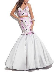 Ellenhouse Womens Mermaid Two Pieces Floral Long Evening Prom Dresses EL093 * ** AMAZON BEST BUY **