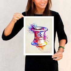 "Watercolor Mortar and Pestle, 11"" x 14"" print, Medical print, Pharmacist graduation gift, Pharma D. certification gift, Pharmacy print, RX"