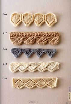 Collection of beautiful patterns for decorating the edge with knitting needles Owl Knitting Pattern, Lace Knitting, Knitting Stitches, Knitting Patterns Free, Stitch Patterns, Knit Crochet, Crochet Patterns, Bamboo Knitting Needles, Knit Edge