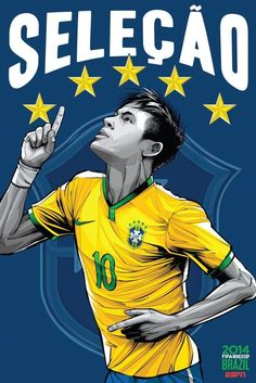 Espn World Cup Brazil Espn Soccer Football Stars Teams Art Wall Poster Inch Boy Room Prints Neymar 544 Football Art, World Football, Soccer World, Brazil Football Team, Play Soccer, Neymar Jr, Lionel Messi, Cristiano Ronaldo, Brazil World Cup