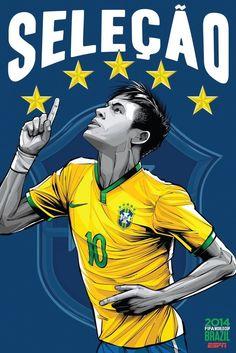 Espn World Cup Brazil Espn Soccer Football Stars Teams Art Wall Poster Inch Boy Room Prints Neymar 544 Neymar Jr, Lionel Messi, Brazil World Cup, World Cup 2014, World Cup Teams, Fifa World Cup, Football Art, World Football, Football Brazil