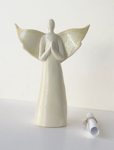 Angel Statue Ceramic sculpture Angel Wing Decor by acosmicmermaid