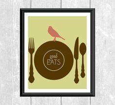 Modern Birds on Kitchen Utensils Good Eats Designer Original 8 x 10 Art Print Coral Sage Aqua Brown Dinner Plate Fork Spoon Knife