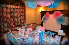 Sweet Simplicity Bakery: Pink and Blue Gender Reveal Party; Baby Boy or Baby Girl? Dessert & Candy Display Buffet Table and Decor