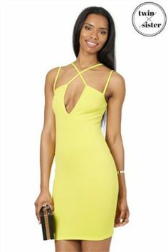 Twin and Sister Strap Lime Dress