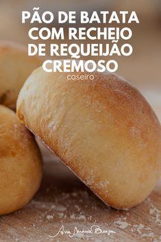 Vem aprender a fazer um pão de batata recheado com requeijão cremoso e caseiro. Um pão famoso em uma grande rede de lanchonete. Vem ver! Bento Recipes, Bread Recipes, Cooking Recipes, Healthy Recipes, Brazilian Bread, Pasta, Vegetarian Cooking, Cake Pops, Sandwiches
