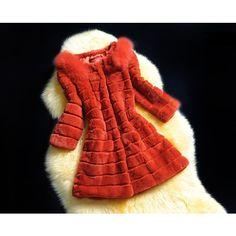 Noble Fox Furry Shoulder Beaver Fur Middle Coat Orange ❤ liked on Polyvore