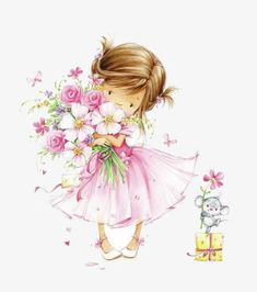 Hand Drawn Illustration Of A Little Girl Holding A Flower PNG - drawn clipart, flower clipart, flowers, girl clipart, hand Little Girl Illustrations, Illustration Girl, Flower Pictures, Cute Pictures, Box Frame Art, Wedding Cards Handmade, Drawing Clipart, Girl Clipart, Girls With Flowers