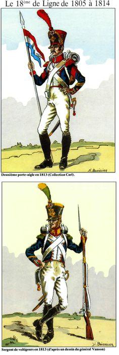 le 18e de ligne de 1805-14 2e porte-aigle en 1813 Sergent de voltigeurs en 1813