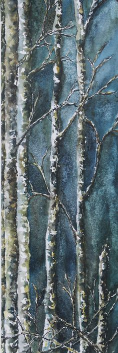 Mossy Trees watercolor by Julie Black on etsy.