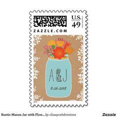 Rustic Mason Jar with Flowers Monogram Wedding Stamps