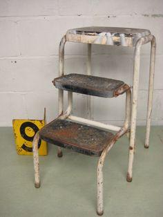 Vintage Kitchen Stool, Cosco Step Stool, Folding Step Stool, Black U0026 White  Metal Stool, Midcentury Stool W/ Foldout Steps, Farm Stool