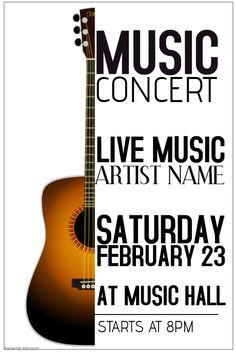 14 best guitar concert poster template images on pinterest concert