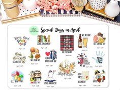 Special Days in April Wacky Holiday Stickers for April by StiandCo Special Days In April, Wacky Holidays, Beer Day, Calendar Stickers, Happiness Project, Happy Planner, Planners, Journaling, Scrapbooking