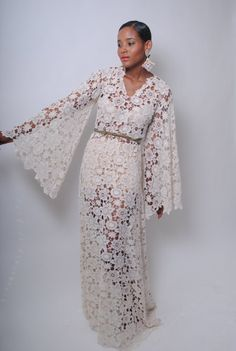 Vintage-Inspired Ivory white Lace Crochet Sheer BELL SLEEVE maxi dress boho WEDDING gown