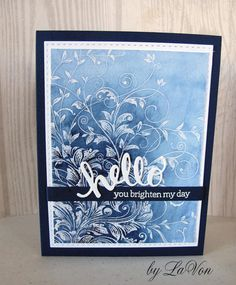 """https://flic.kr/p/S9Vx5s   Quick Card 148 #3   I used one of my all time favorite background stamp to make this card.  It was stamped with Versamark and heat embossed with clear embossing powder.  I used watercolors in a resist technique to create the background, Used Hero Arts:  """"Leafy Vines"""" CG509 """"Hello"""" Stamp & Cut,  DC151"""