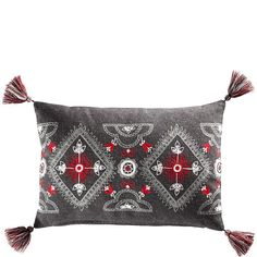 Pillow :: Folkartsy embroidery on gray wool. From swedish department store Åhléns.