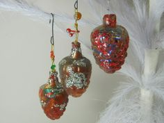 Vintage Glitter Ornaments Plastic Pinecone by LavenderGardenCottag