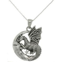 Carolina Glamour Collection Sterling Silver Moon and Dragon Necklace (38 AUD) ❤ liked on Polyvore featuring jewelry, necklaces, accessories, dragon, neck, silver, polish jewelry, sterling silver necklace, pendant jewelry and sterling silver pendant necklace
