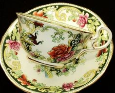 ANTIQUE AYNSLEY BIRD ROSES EXTREME TEA CUP AND SAUCER