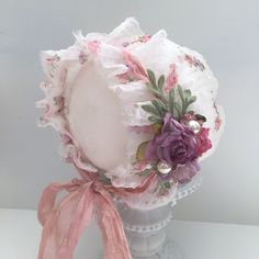Newborn Bonnet with flower embellishmentThis item is Ready to Ship