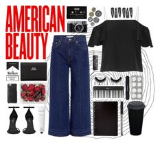 A fashion look from March 2017 featuring silk shirt, high-waisted jeans and platform shoes. Browse and shop related looks. Derek Lam, Acne Studios, Sephora, Fendi, Yves Saint Laurent, Cute Outfits, Rodin, Shoe Bag, American