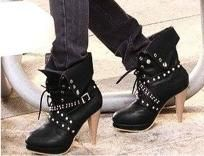 Hot Punk Ankle Boots w/ Studded Buckle Straps