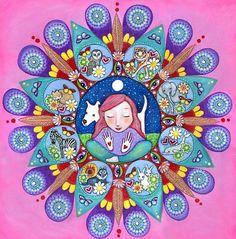 Mandala de chaman imprimer folk lunatique de par LindyLonghurst