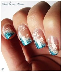 Sky Blue and White Snowflake Christmas Nails