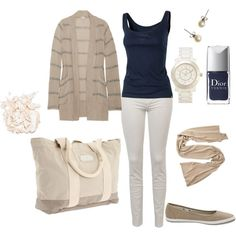 I LOVE THIS OUTFIT. Totally versatile! - Navy blue, beige and white!